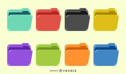 Color Folder Icon Vector Design
