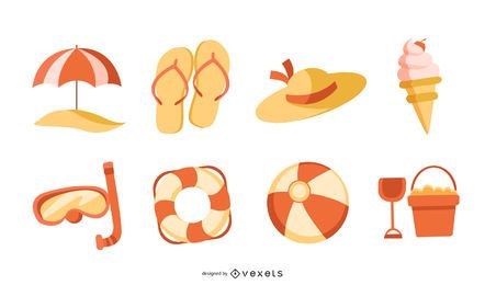 Orange Summer Vector Set
