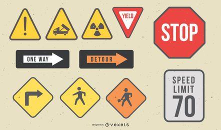 Conjunto de vetores de sinal de estrada