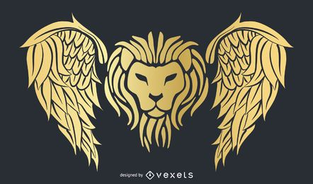 Gold wings texture vector