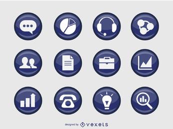 Iconos de negocios en 3D y en forma de placa.