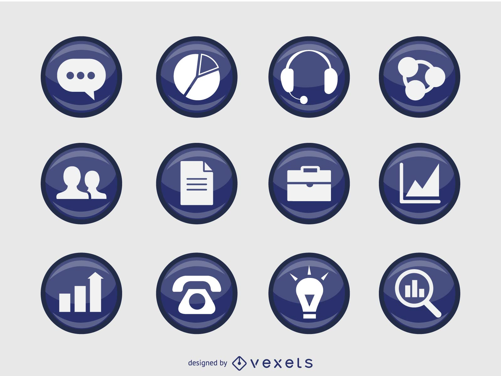 Business Icons in 3D and in badge form