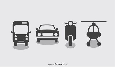 Conjunto de ícones de transporte de vetor