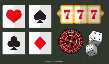 Conjunto de ícones de elementos de cassino