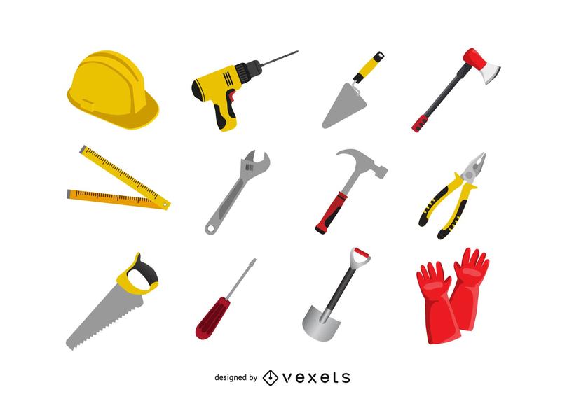 Construction tool icon set