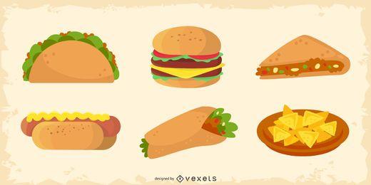 Paquete de elementos de comida de estilo occidental