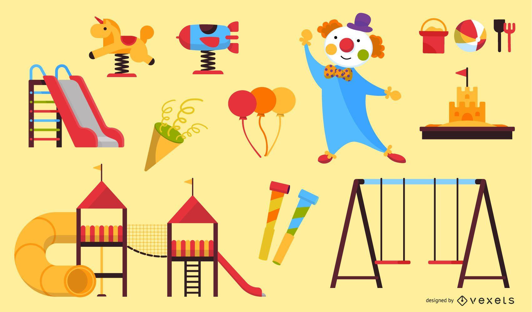 Conjunto de ícones de circo de playground de desenhos animados
