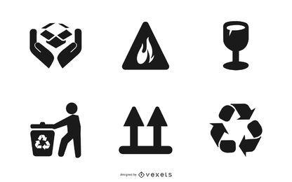Gemeinsame Zeichen und Symbole gesetzt
