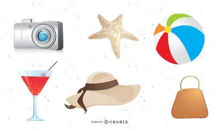 Iconos vectoriales de verano