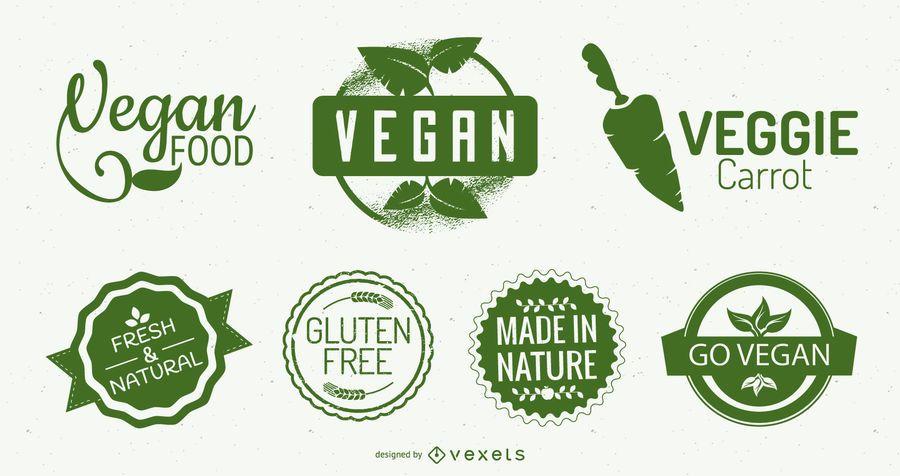 Conjunto de diseño de logotipo de comida verde vegana
