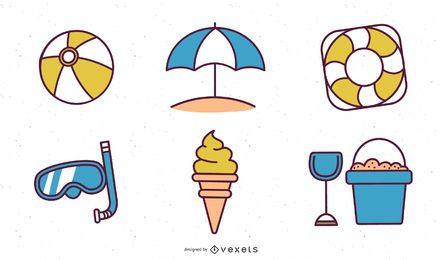 Iconos vectoriales de verano y