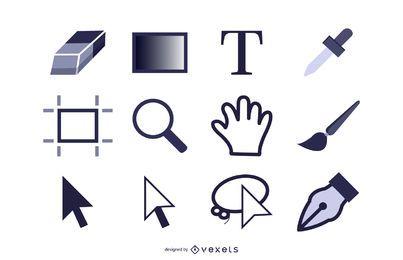 Conjunto de ícones de ferramentas do Photoshop