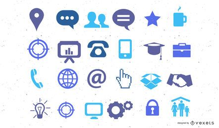 Blue misc icons collection