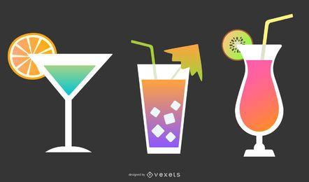 Conjunto de ícones de bebidas coloridas