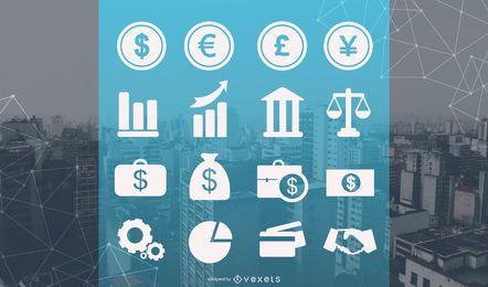 Conjunto de ícones comerciais e financeiros