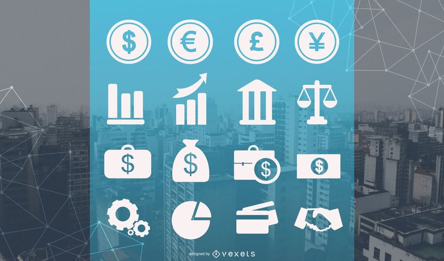 Commercial and financial icon set