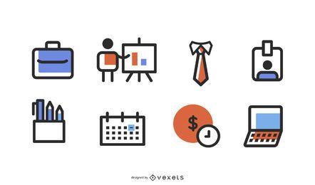 Conjunto de iconos del departamento de finanzas