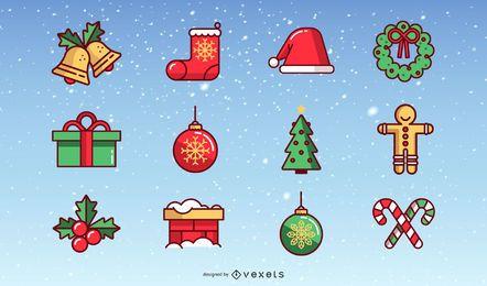 Colección de vectores de elementos de Navidad