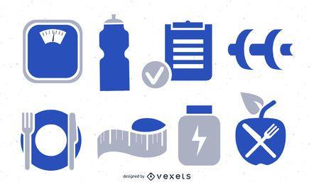 Coleção de ícones de fitness e exercícios