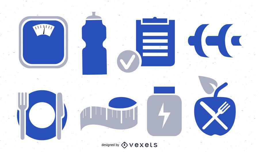 Colección de iconos de fitness y ejercicio