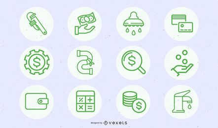 Green business and building icon set