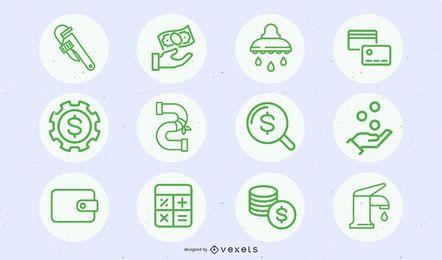 Negocio verde y conjunto de iconos de construcción