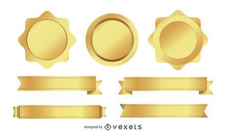 Metallic badges and ribbons set