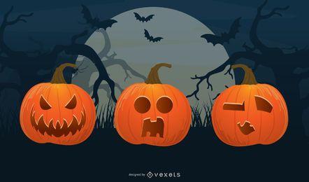 vetor de cabeça de abóbora de halloween