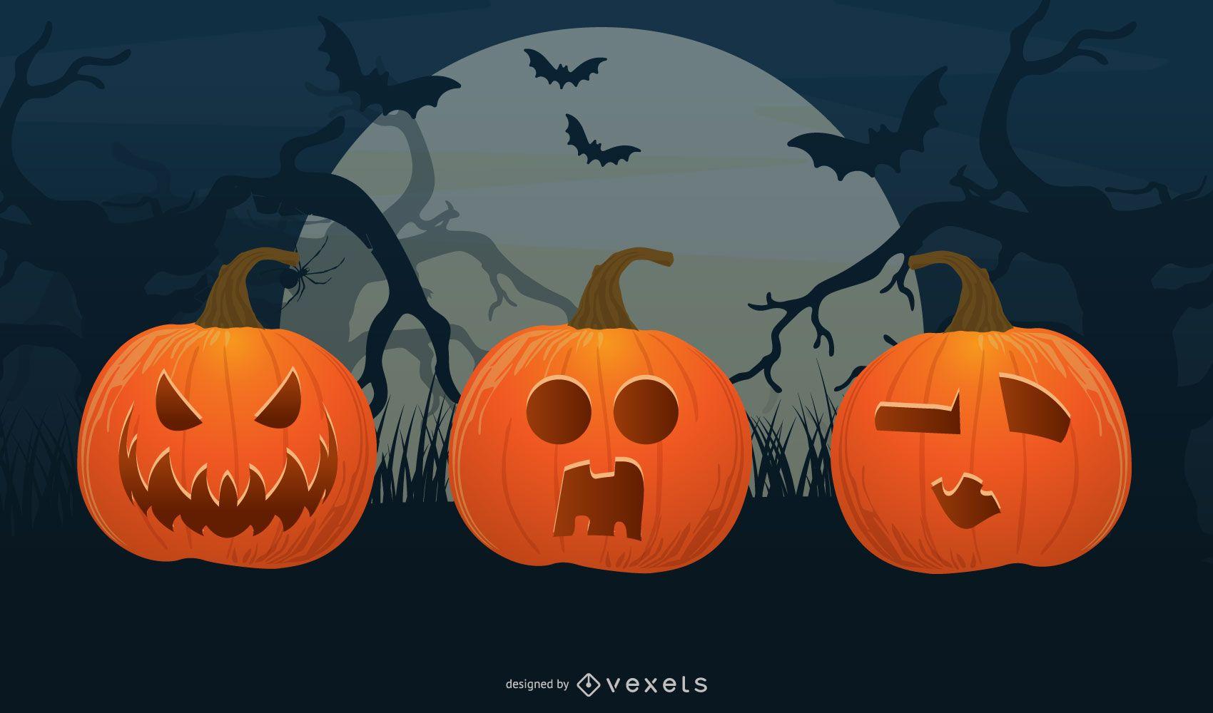 halloween pumpkin head vector