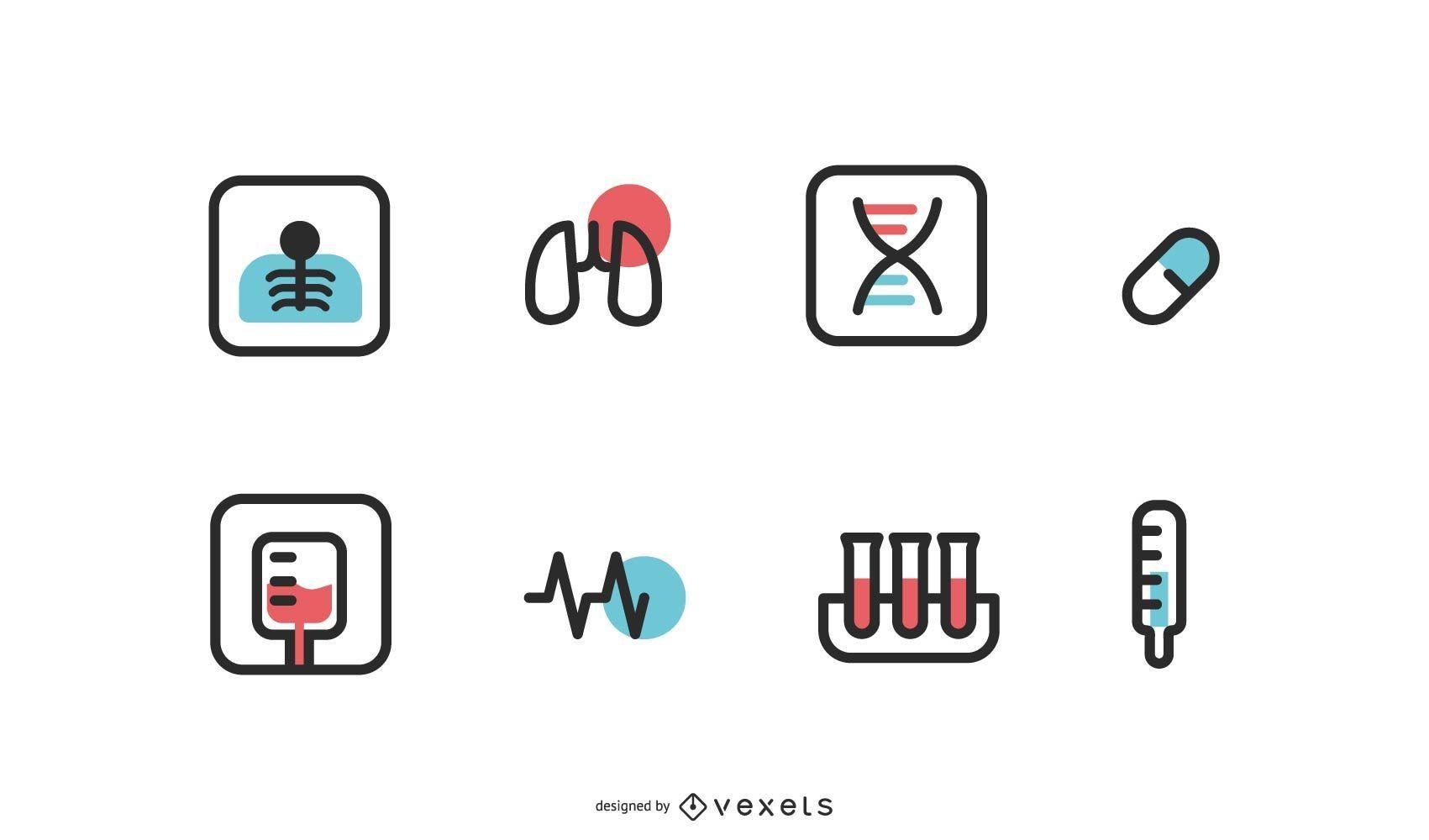 Vector de iconos de hospital