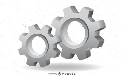 3d engranaje vector mecanico