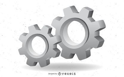 Vector de engranaje 3d mecánico