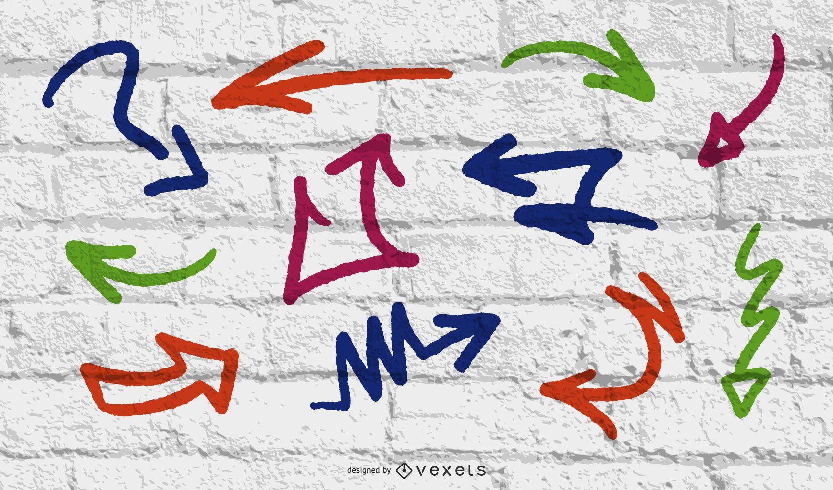 Conjunto de elementos de setas de graffiti