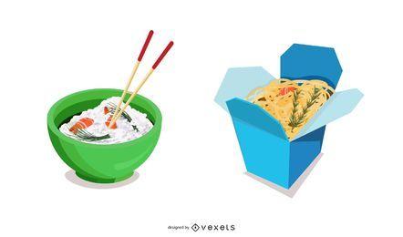 Chinesischer Nahrungsmittelikonen-Vektor