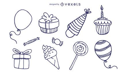 birthday theme icon vector