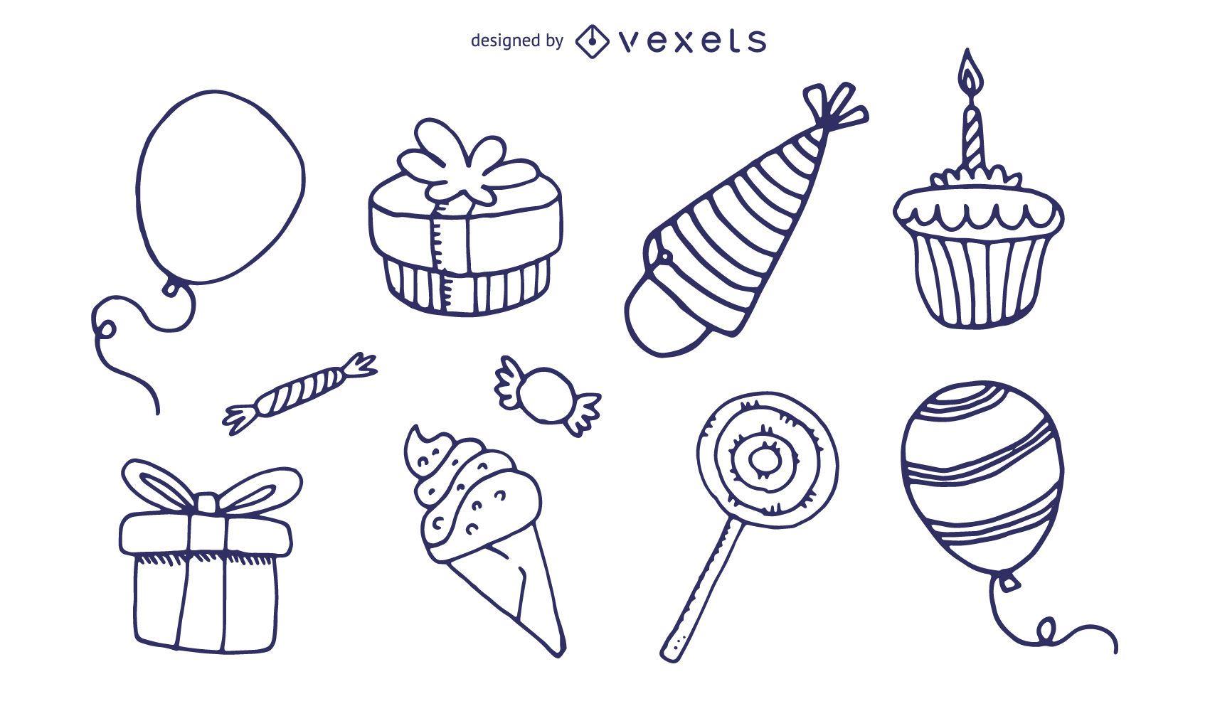 vector de icono de tema de cumpleaños