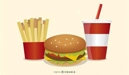 Feiner Fastfood-Symbolvektor