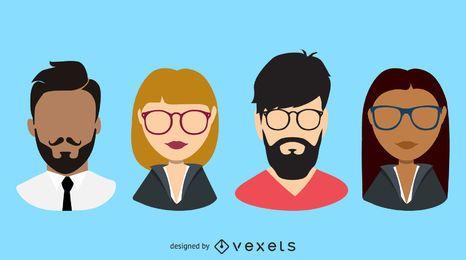 Conjunto de avatar de personas de negocios de diseño plano