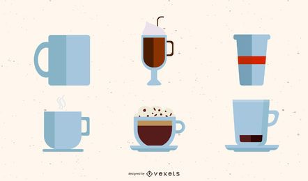Conjunto de ilustración de taza de café