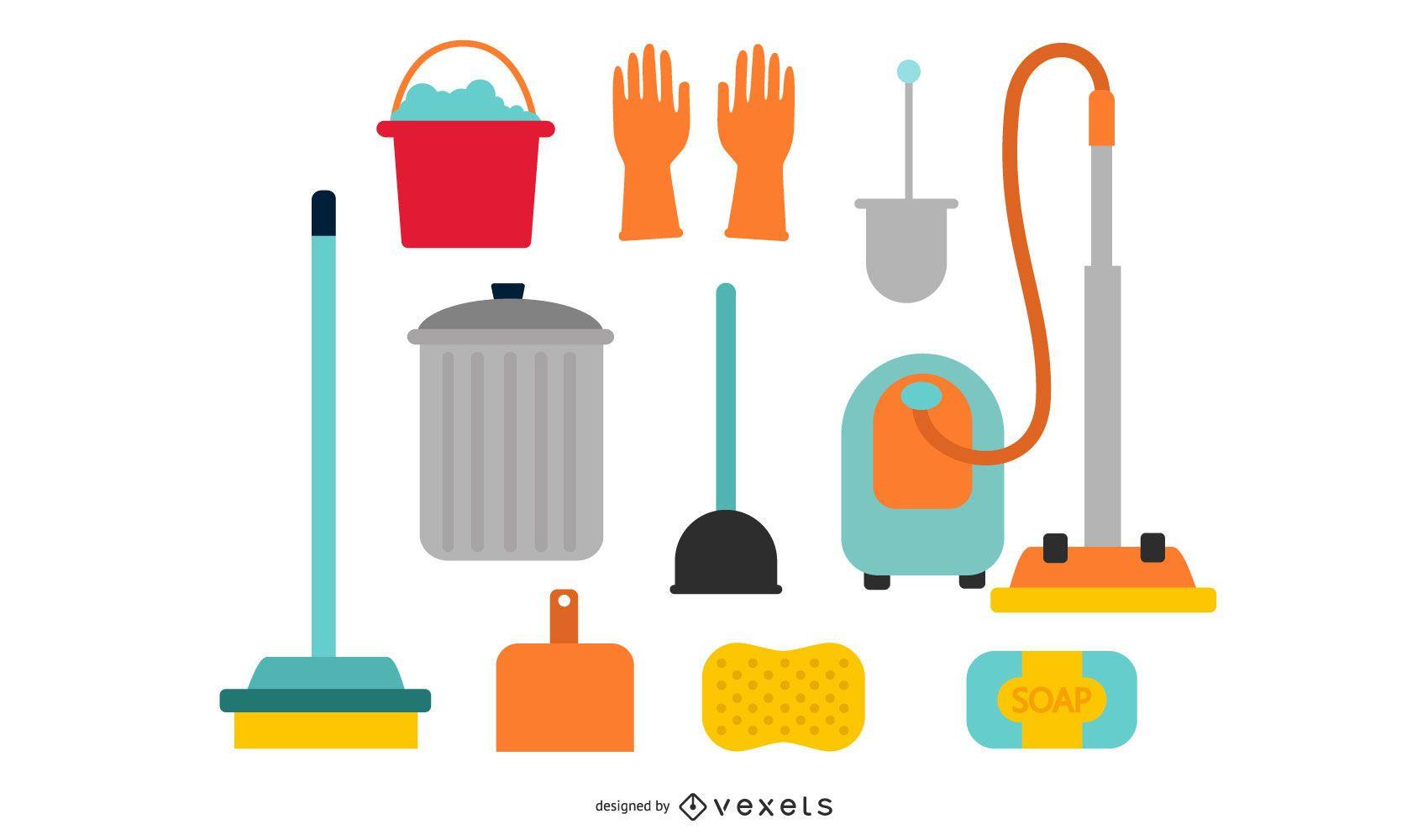 Coleção de equipamentos de limpeza