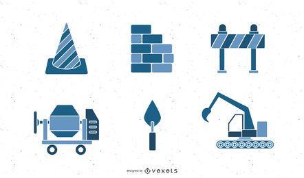 Colección de iconos de construcción y constructores.