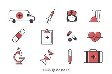 Conjunto de iconos de cuidado de la salud