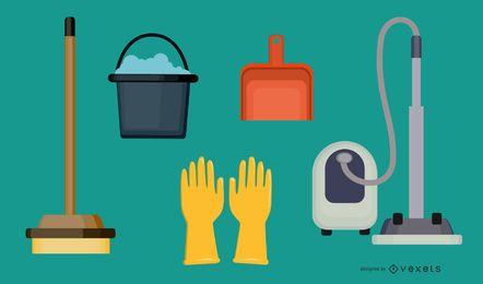 Conjunto de ícones 3D de suprimentos de limpeza