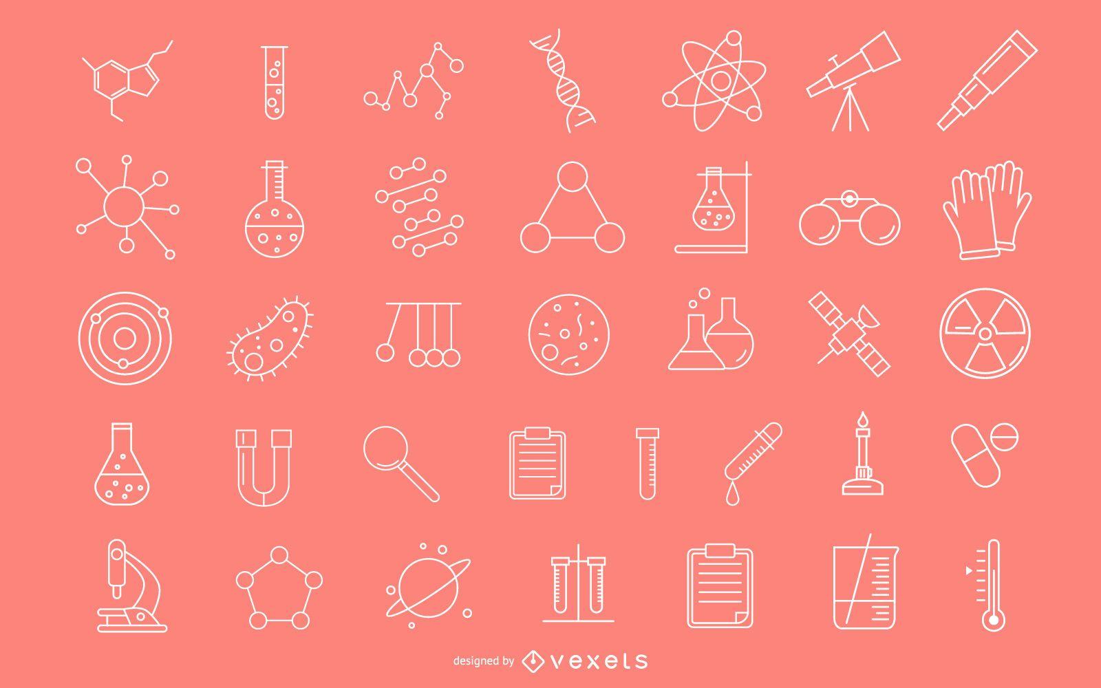 Paquete de iconos de trazo científico