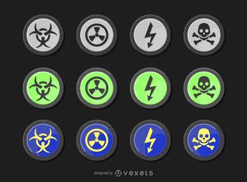 Vetor de aviso de radiação redonda