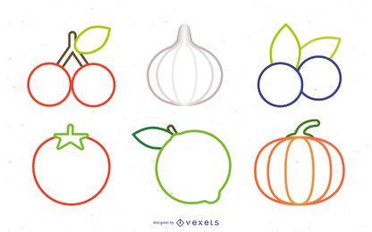 Coleção de frutas legumes ícones