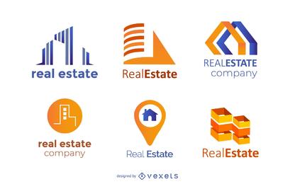 Conjunto de iconos de logotipo de bienes raíces