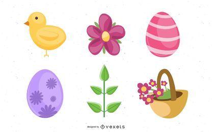 Conjunto de iconos de Pascua 3D