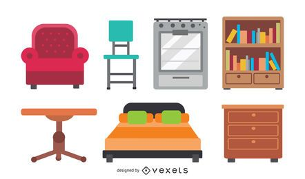 rounded furniture icon vector