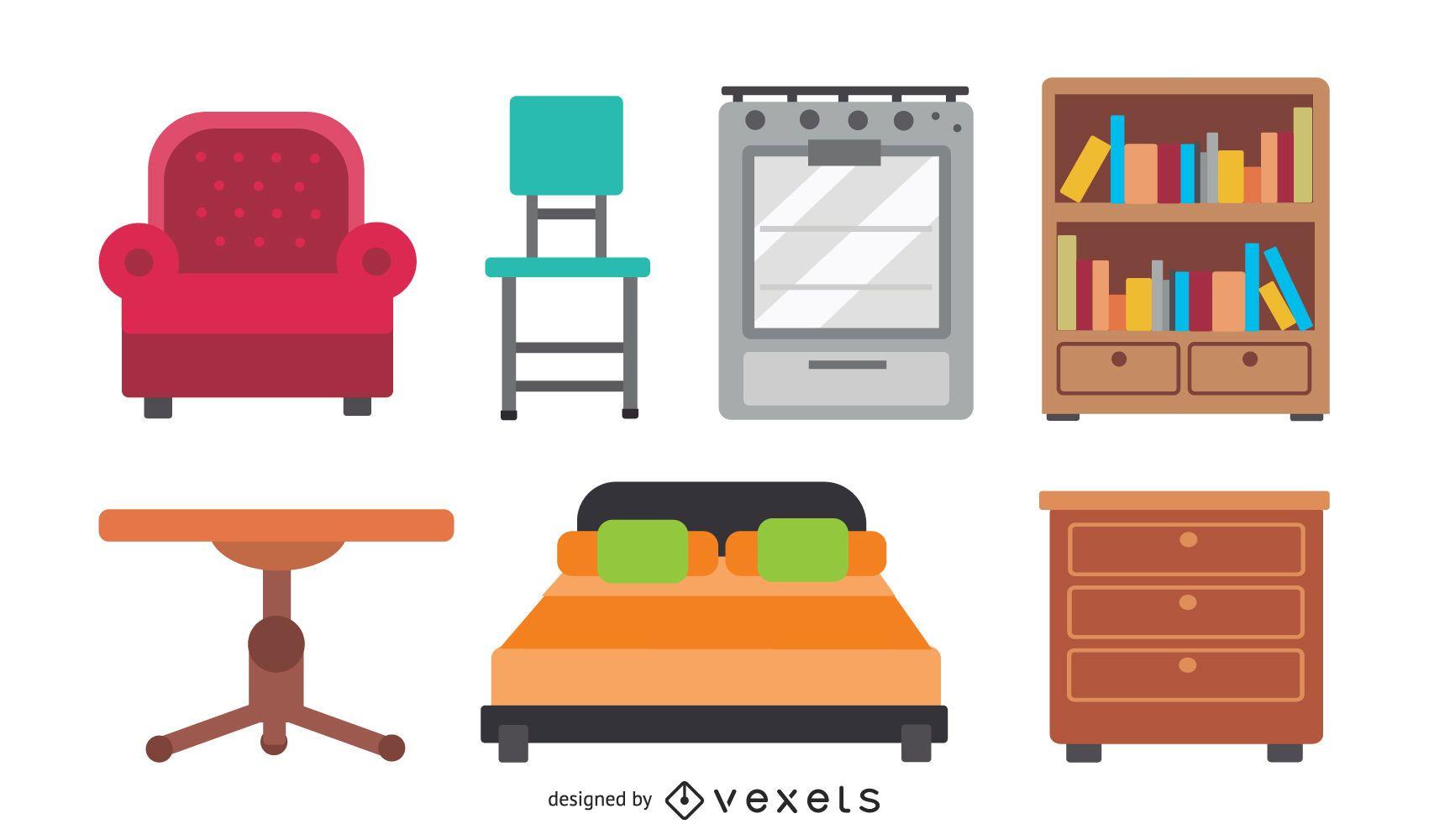 vetor de ícone de mobília arredondada
